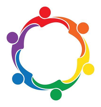 logo vector: Teamwork hug friendship logo vector