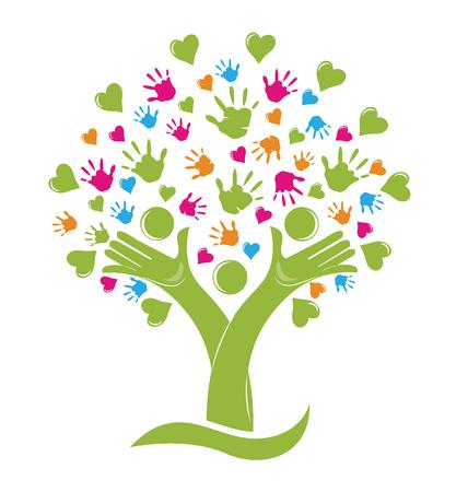 Árbol con las manos y los corazones figuras de la familia logo