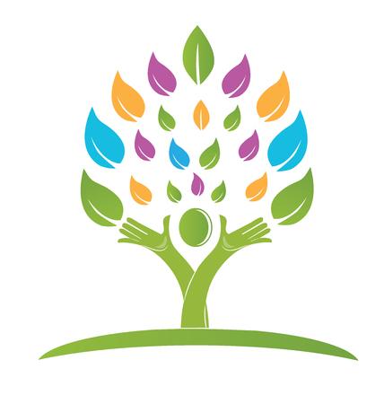 手のカラフルなロゴのベクトルを持つツリー