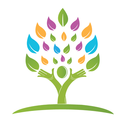 Tree with hands colorful logo vector