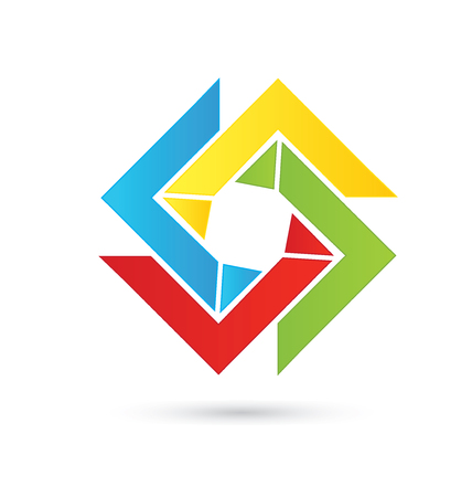 business team: Abstract colorful geometric logo vector