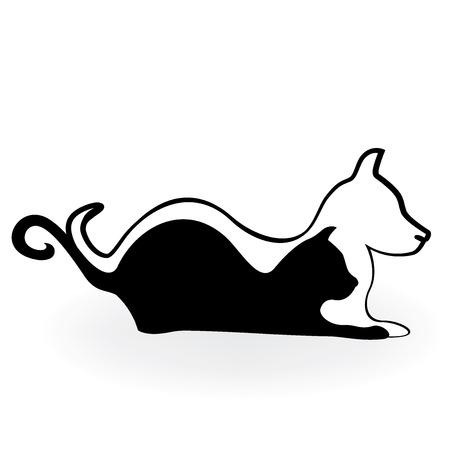 labrador: A Cat and dog logo silhouette.