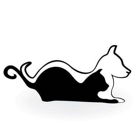 A Cat and dog logo silhouette.