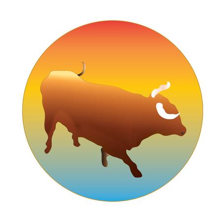 Orange Bull and sun logo vector.