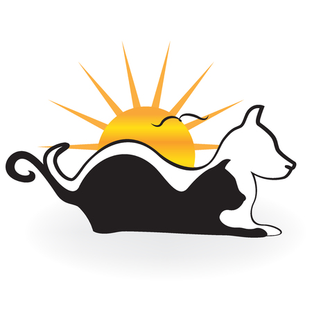 website: Artistic Cat dog and birds silhouettes logo. Illustration