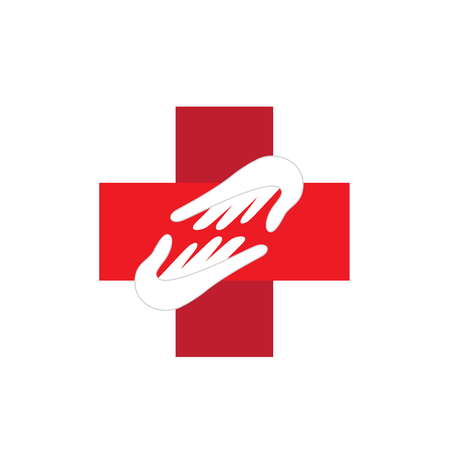 cross: Medical logo hands helping concept of charity