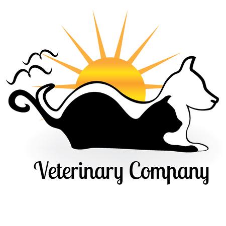 Cool Cat dog and birds logo. Illustration