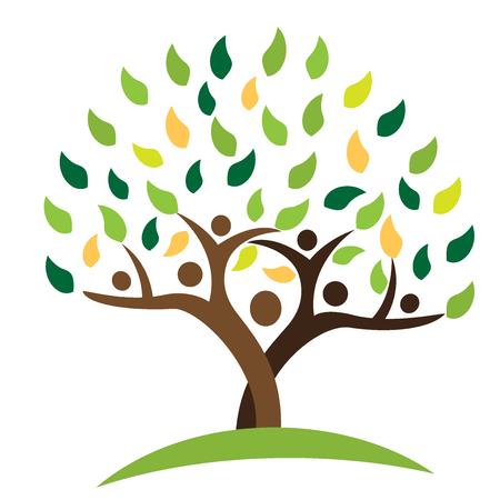 arbol genealógico: Árbol de la familia de personas hojas verdes. Ecología logo concepto icono vector de diseño Vectores