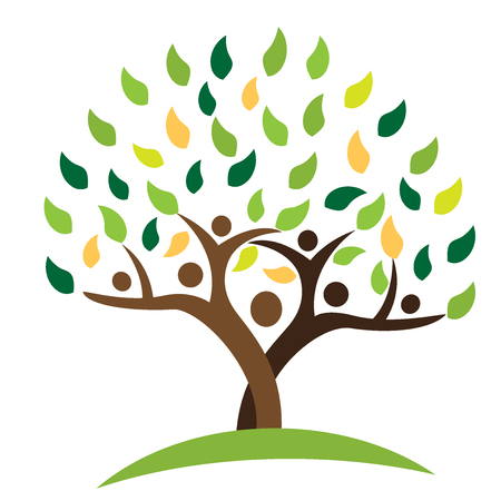 group fitness: Tree family people green leafs . Ecology logo concept icon vector design