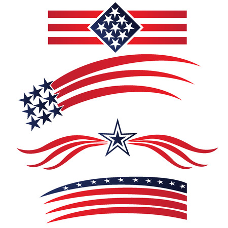 line drawings: USA star flags logo. Set collection vector illustration