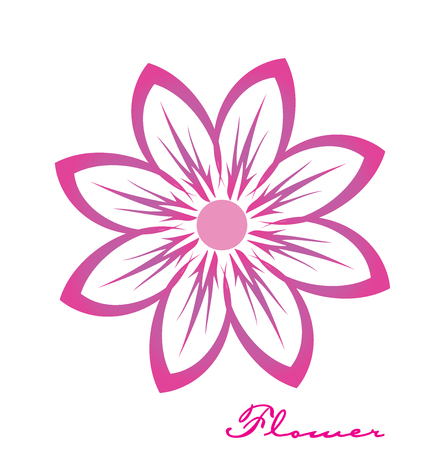greeting season: Pink flower closeup vector image logo design