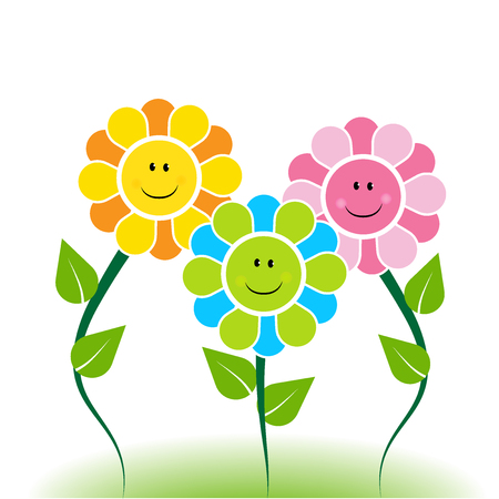 Happy faces flowers logo vector design Illustration