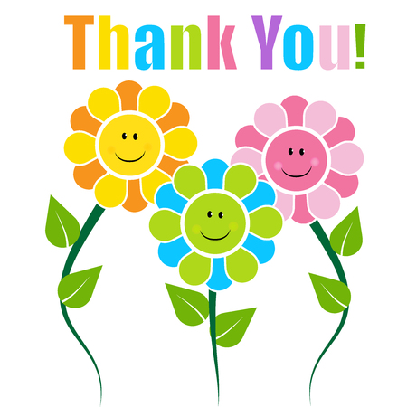 greeting season: Thank you card with happy faces flowers Illustration