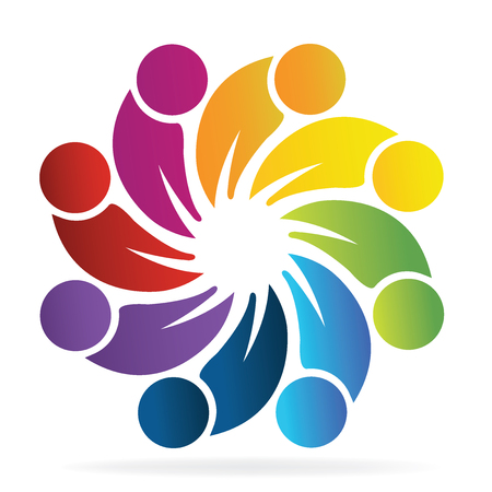 People holding hands in circle logo vector design