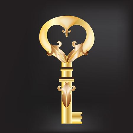 Gouden oude sleutel vintage logo ontwerp Stock Illustratie