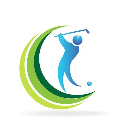 throw: Golf player logo symbol icon graphic vector. Illustration