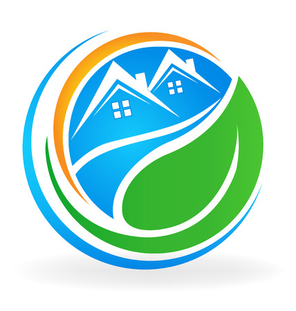 home icon: Houses and green leaf real estate business icon vector