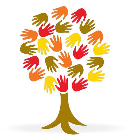 Print hands tree vector image logo design