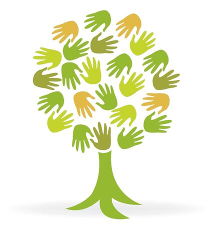 Tree print hands icon vector image  volunteer concept logo