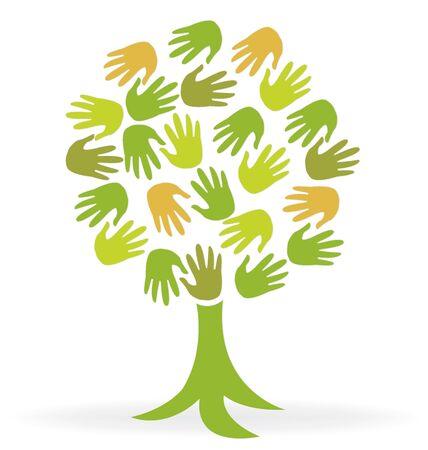 Tree print hands icon vector image  volunteer concept logo