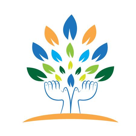 massage enfant: Arbre, mains, tenue, feuilles, concept, croissant, vecteur