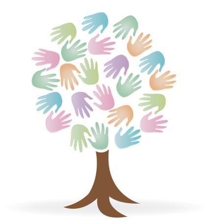 Tree print hands charity icon logo vector image