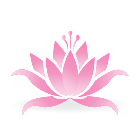 business woman: Pink lotus flower logo icon vector design Illustration