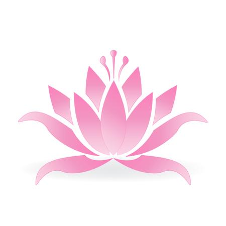 Pink lotus flower logo icon vector design Illustration