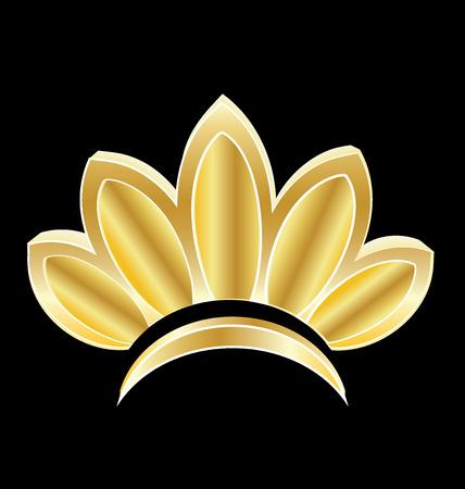 gold leafs: Gold lotus flower logo