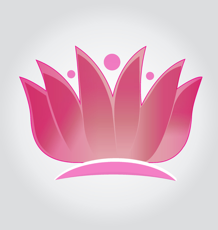 Pink lotus flower logo icon vector design Illustration
