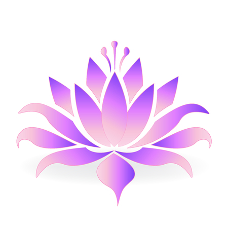 Purple lotus flower logo icon vector design