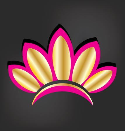 line drawings: Golden lotus flower vector image logo Illustration