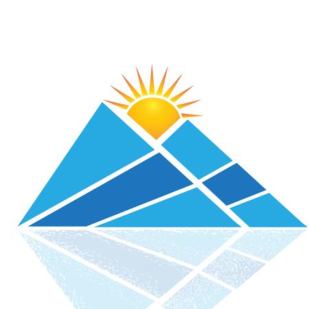 Mountain sun and reflections logo vector design