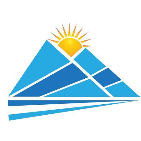 Mountain sun road reflections logo vector design Illustration