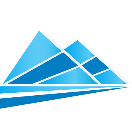 high: Blue peak mountains and road logo