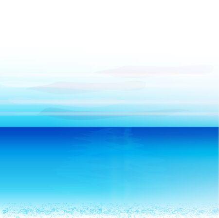 ocean waves: Beach panoramic landscape background blue vivid colors vector design