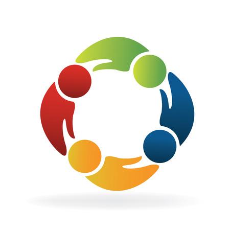 Teamwork hands shape people logo concept of handle vector design