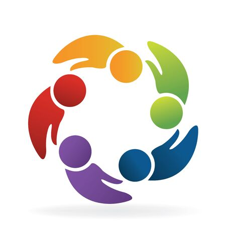 Teamwork hands shape people logo concept of handle vector design