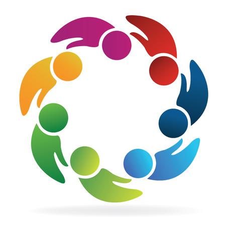 business team: Teamwork hands shape people logo concept of handle vector design