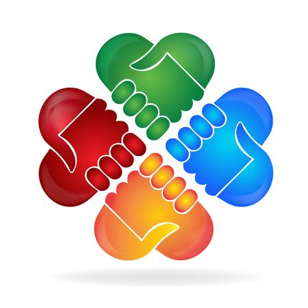 people: Teamwork hands shape people logo concept of handle vector design