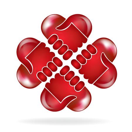 colors: Teamwork hands red love heart shape people logo vector design