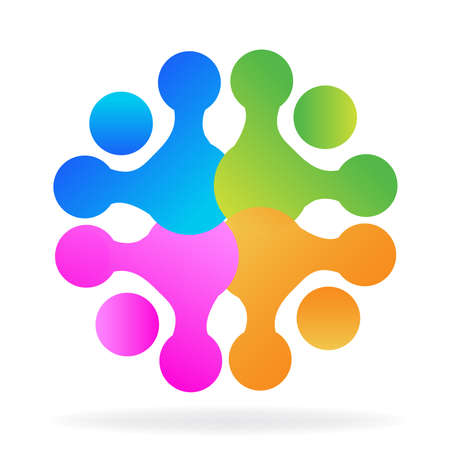 business meeting: Technology teamwork colorful digital sowftware logo application.