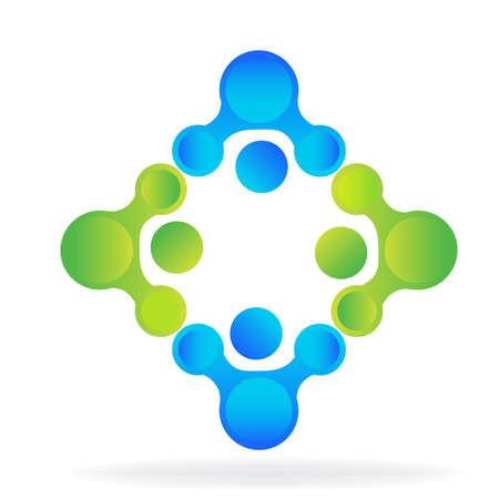 business team: Technology teamwork colorful digital sowftware logo application.