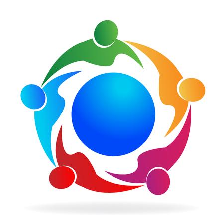 Teamwork people around world doing business vector image logo. Illustration