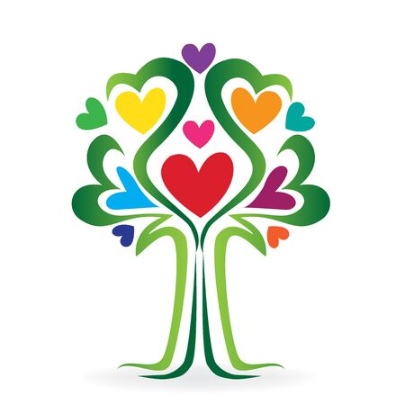 online: Tree love heart family concept colorful logo vector. Illustration