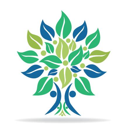 Boom mensen helpen natuur ecologie logo vector ontwerp sjabloon
