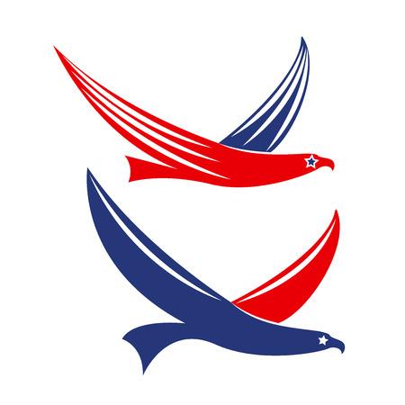 eagle flying: Set of flying eagles USA logo