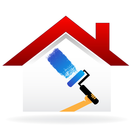 Hands painting a house logo vector image