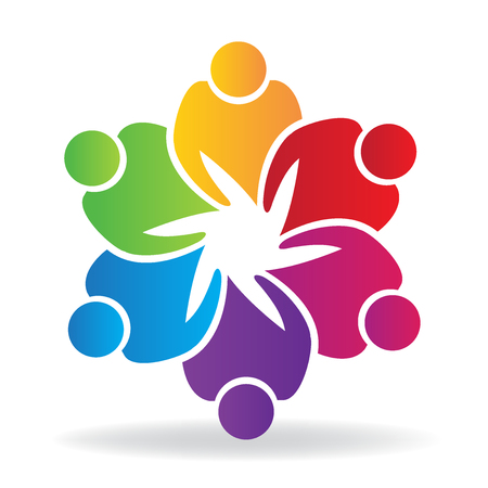 business team: People holding hands charity friendship business logo vector