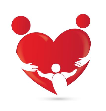 Családi egyesülés szív alakú logó vektor kép sablon Illusztráció